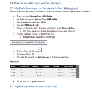 Voorbeeld powerBI lesmateriaal